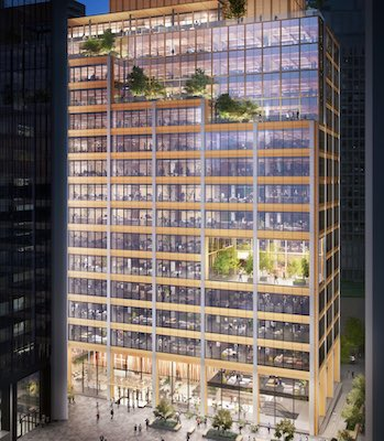 IMAGE: The Burrard Exchange is a proposed 450,000 square foot hybrid mass timber office and retail tower to be built at Bentall Centre in Vancouver. (Courtesy Hudson Pacific)