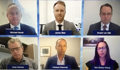 IMAGE: Panelists discuss the performance of the Canadian apartment multifamily sector during the Canadian Apartment Investment Conference on Sept. 22. (Steve McLean, RENX, screengrab from the webinar)
