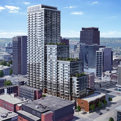 IMAGE: A rendering of the proposed high-rise multiresidential development at 75 James St. S. in downtown Hamilton. (Courtesy Fengate Asset Management)