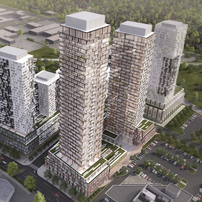 IMAGE: A rendering of a concept for 49- and 40-storey residential towers, with a connecting podium, at a for-sale development site at 675 Progress Ave., in Toronto. (Courtesy Colliers)