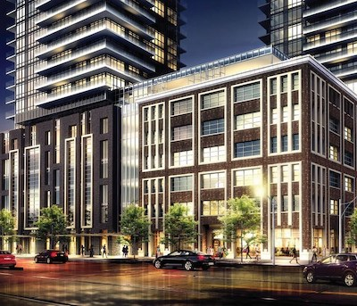 IMAGE: A rendering of the downtown Toronto King Blue Hotel, in the podium of the twin-tower King Blue Condominiums development. (Courtesy Northland Properties)